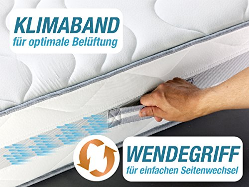 DIREKT VOM HERSTELLER - MADE IN GERMANY Matratze XXL Härtegrad 4 (H4) bis 150kg 90x200 Höhe 23cm | mit SilverCare Borderbezug | Klimaband für beste Belüftung | extra hart | hochwertig - 5