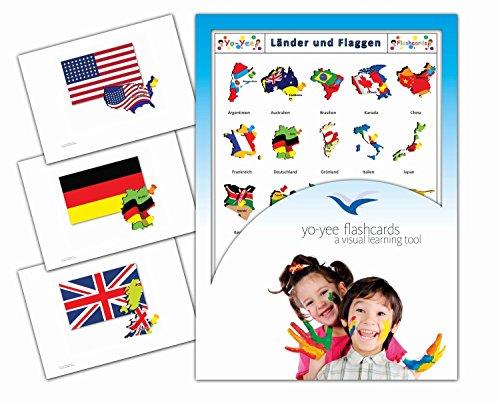 Yo-Yee Flashcards Bildkarten zur Sprachförderung - Länder und Flaggen - Erweitere spielerisch Grundwortschatz, Satzbau und Grammatik - Für Kita, Kindergarten, Grundschule oder Logopädie -