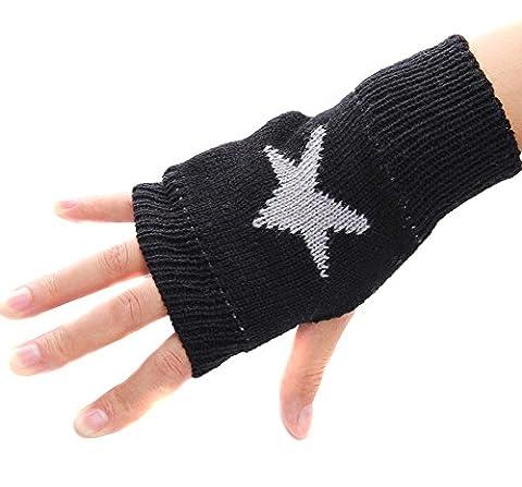 TININNA Mode Stern Winter Handgefertigt Gestrickte Fingerlose Armstulpen Strick Handschuhe Pulswärmer Handstulpen Armwärmer Stulpen für Damen Mädchen schwarz