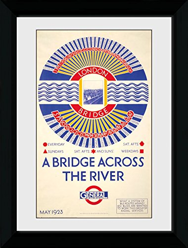 GB Eye Ltd Pont de Londres de Transport, encadrée, 50 x 70 cm, Bois, différents, 55 x 75 x 2.9 cm