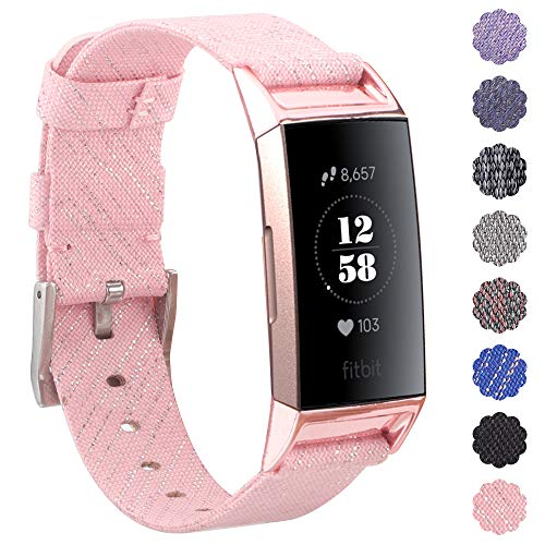 KIMILAR Fitbit Charge 3 Strap Bands, Replacement Nylon Woven Strap, Fabric  Band Wristband Bracelet with Stainless Metal Buckle for Fitbit Charge 3