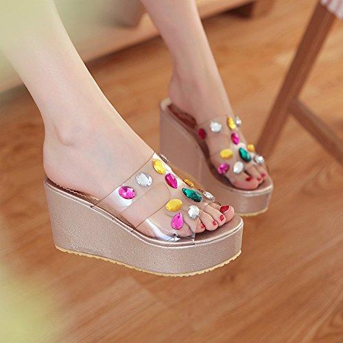 WZG Candy-farbigen Perlen Juwel Sandalen Sommer Sandalen transparent Muffin dicke Kruste Hang mit Sandalen und Pantoffeln für Frauen Gold
