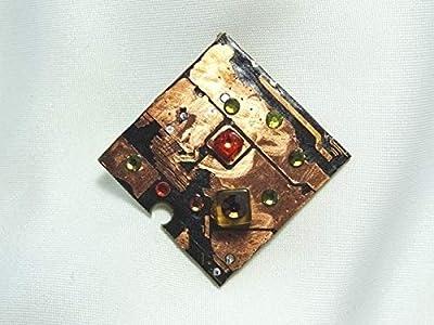 Speciimen - Bijou pour Femme en Circuit Imprimé Recyclé avec Cristal Swaroski - Pendentif Cuivré Carré - Exemplaire Unique Fait Main
