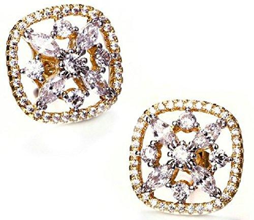 AnaZoz Joyería de Moda Simple Personalidad 18K Chapado en Oro Pendiente de Mujer Noble Elegante Diseño Cuadrado Chiseled Inlaid CZ Cubic Zirconia Cristal Oro