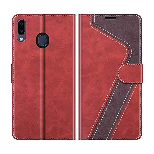 MOBESV Handyhülle für Samsung Galaxy M20 Hülle Leder, Samsung Galaxy M20 Klapphülle Handytasche Case für Samsung Galaxy M20 Handy Hüllen, Modisch Rot