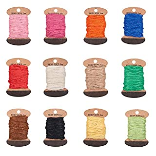 PandaHall Elite 12 Assorted Color About 120m 2mm 3 Ply Jute Twine String Hemp Rope Jute Cord for DIY Crafts, Gift Wrapping, Embellishments