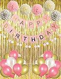 Pancarta de cumpleaños para fiesta de cumpleaños con cortinas doradas, pompones de pañuelos, papel de lunares, guirnalda de látex, globos de fiesta para niños o adultos talla única Pink Series