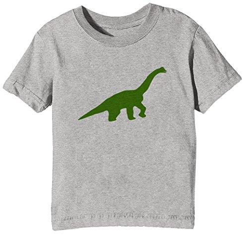 Erido Brontosaurio Niños Unisexo Niño Niña Camiseta Cuello Redondo Gris Manga Corta Tamaño XL Kids Unisex Boys Girls T-Shirt Grey X-Large Size XL