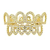 Sharplace 18K CZ Cristallo Placcato Griglia Denti Inferiore Accessori Decorazione Bocca Halloween Party - Oro