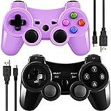 Doppelter vibrierender Wireless Controller für PS3mit Lade Kabel (schwarz + lila)