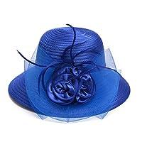 Lawliet Ladies Womens Satin Dress Church Kentucky Derby Wide Brim Feather Sun Formal Royal Ascot Hat (Blue)