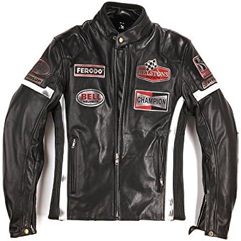 Helstons-Cazadora moto GTSEVEN ref_helstons34092 cuero para hombre, color negro