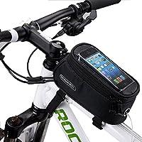 DCCN Alforja para la Bicicleta,Bolsa de Tubo Superior para Bicicleta (Adecuado hasta 5,5 Pulgadas) con Mica PVC Transparente