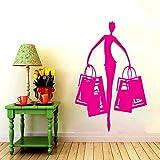 Sticker mural Vinyle Art Décor À La Maison Boutique Salon De Beauté Robe Autocollant Mural Amovible De La Mode Murale Affiche H 42 * 57 cm