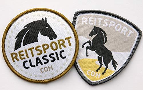 Club of Heroes 2er-Set Reitsport Abzeichen gewebt 60 mm/Pferd Reiten Pferde-Sport REIT-Abzeichen/Aufnäher Aufbügler Flicken Sticker Patch/REIT-Bekleidung REIT-Zubehör REIT-Ausrüstung -