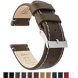 Barton Quick Release - Correas de Reloj Cuero de 22mm Saddle Leather/Linen White Stitching