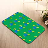 Bikofhd Patterns Camping Holiday Rectangle Non-Slip Rubber Mat Multicolor 23.6 by 15.7 Inch Cute Rabbits Green backg