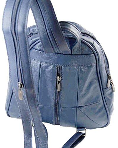 Lorenz - Original Leder Rucksack (3748) Blau - Blau