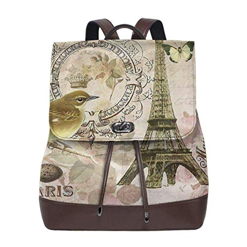 Flyup Women's Leather Backpack Vintage Paris Postcard Chair School College Bag Elegant Casual Daypack Travel Shoulder Bag For Men Frauen Leder Rucksack (String Chair)