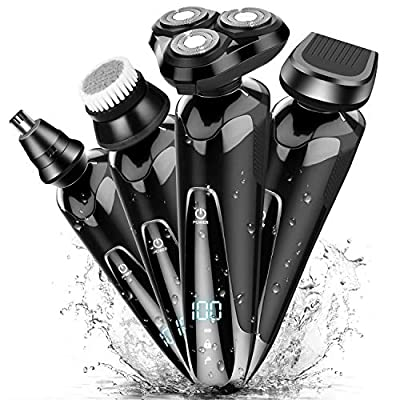 Electric Shavers Men, ADOKEY Electric Razors for Men Rechargeable Waterproof 4 in 1 Cordless Shaver, Wet and Dry Mans Rotary Shaving Machine with Nose Beard Trimmer Face Cleaning Brush from ADOKEY