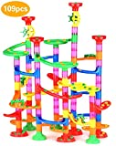 Queta Marble Run Kugelbahn, 109pcs Mehrfarbige Konstruktionsbausteine DIY Bausteine mit Bahnelementen und Glasmurmeln pädagogisch für Kinder Spielzeug (3+ Jahre)