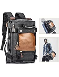 Overmont Vintage Herren Rucksack Laptoprucksack 14,1 Zoll Reiserucksack Daypack Multifunktionale Tasche für Reise Camping Wandern Ausflug Outdoor Khaki/Schwarz