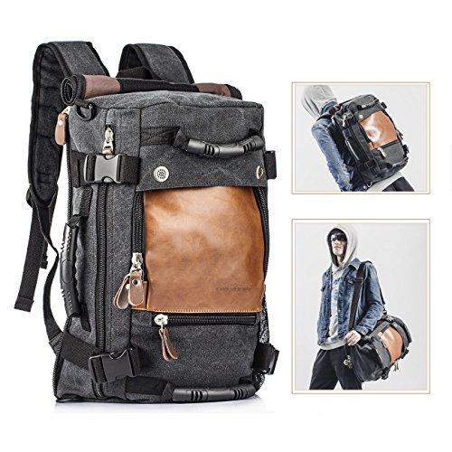 Overmont 35I Multifunktionale Vintage Herren Rucksack Tasche für Reise Camping Wandern Ausflug Outdoor Khaki/ Schwarz (Schwarz Leder Khaki)
