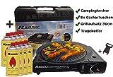 Gaskocher Campingkocher mit 8 Gaskartuschen Portable 2,5 KW + Grillaufsatz Grillplatte +  Phönix Gasherdkreuz + Koffer (Schwarz)