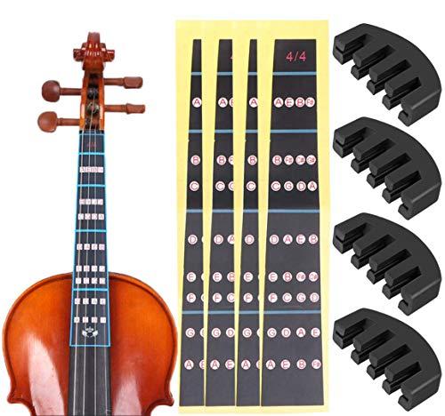 LABOTA 4 Stück Dämpfer für Violine und 4 Stück Violine Note Aufkleber für 4/4 Violine, Schwarz