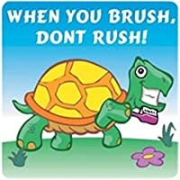 "Shermans SMI321 - Adhesivo decorativo (100 unidades), diseño con texto""When You Brush Don't Rush"""