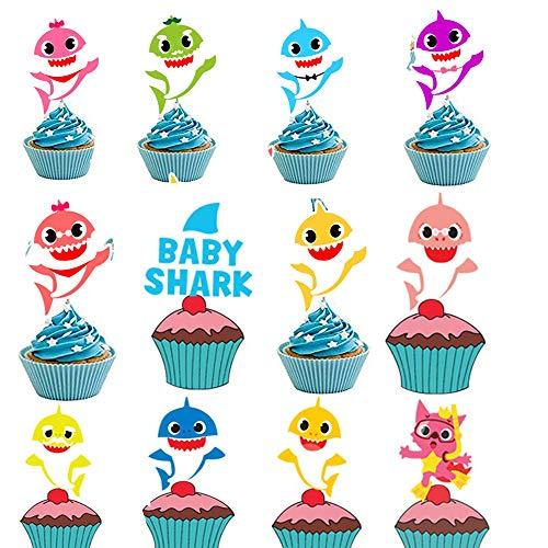 JeVenis 45 Stück Shark Cupcake Toppers Shark Theme Partyangebot Shark Family Baby Shower Geburtstagsparty Dekorationen (Shark Toppers Cupcake)