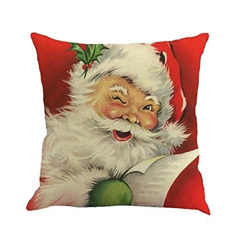 Hirolan 45cm * 45cm Weihnachten Baumwolle Leinen Sofa Auto Zuhause Taille Kissen Abdeckung Werfen Kissen Fall Perfekt zum Sessel, Sofe, Auto, Sitz Dekoration (B)