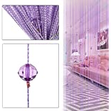 Decorative String Curtain Beads Wall Panel Fringe Curtains For Living Room Room Door Window (purple)