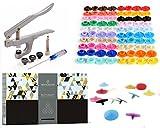 Buttonary - Ensemble de 549 pièces de Boutons-Pression et de Pinces pour T3, T5 et T8, avec 540 pièces de Boutons-Pression de Plastique en 36 couleurs + Poinçon, Tournevis, Tige Métallique, Bouchons de Plastique et Pince Fine.