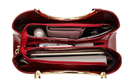 Greeniris Damen Handtasche PU-Leder Schultertasche für Frauen Rot Tiefes Blau