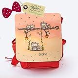 ilka parey wandtattoo-welt Kindergartentasche Kindergartenrucksack Kindertasche Kinderrucksack mit Eulen auf der Schaukel Sommerabend Eulentasche Kindereulentasche individualisierbar mit Namen KGn001