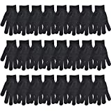 Stonges Guanti Inverno Caldo Nero Lavorato a Maglia Guanti Magic Stretch Guanti Adulti, Donna, 24 Pairs, L
