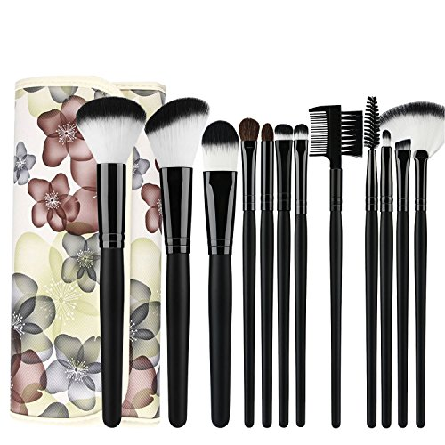 UNIMEIX Make up Brushes 12 Pieces Brush Set with Floral Pouch Powder Foundation Contour Eyeshadow Concealer Eye Lush Brow Liner Lip Eyeshadow Fan Brush (Black)