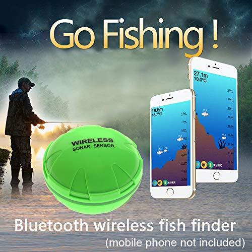 Aidashine Tragbare Sonar Fish Finder Bluetooth Wireless 50M / 164ft Tiefe Sea Lake Fish Detector, Angeln Fish Finder Humminbird Wandler Wechseln