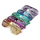 Schramm Onlinehandel S/O 6er Pack Partybrille metallic 6 Farben Partybrillen Bunt Gitterbrille Spaß Spass Brille Atzen Brillen Party Brille
