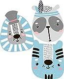 greenluup Wandsticker Wandaufkleber Tiere in Grau Rosa Waldtiere Bär Reh Hase Sterne Wolke aus ökologischen Materialien (Waldtiere Rosa) Kinderzimmer Babyzimmer Deko Wanddekoration