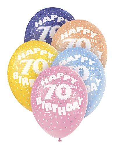 Unique Party Supplies 30,5cm Perlglanzeffekt Latex Ballons, Happy Birthday Sortiert 5Stück