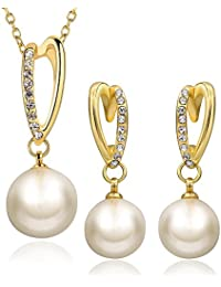 DUMAN 18ct amarillo aleación de chapado en oro juegos de Juego de pendientes de collar con colgante en forma de perlas y joyas