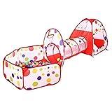 Netchain Kinder spielzelt mit Spielhaus Zelt, Krabbel Tunnel, Ball Pool Für Jungen und Mädchen Drinnen, Draußen,Garten (Rot Style1)