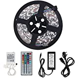 Minger Waterproof LED Strip Light 16.4ft 300leds RGB SMD 5050 with 44-keys IR Remote Controller & 5A Power Supply for Home Lighting, Kitchen, Christmas, Indoor & Outdoor Decoration