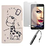 Lankashi Giraffe 3in1 Set PU Flip Leder Tasche Für Alcatel One Touch Pop 4S 5.5