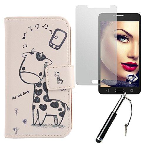 Lankashi Giraffe Design 3in1 Zubehör Set PU Flip Leder Tasche Für Alcatel One Touch Pop 4S 5.5