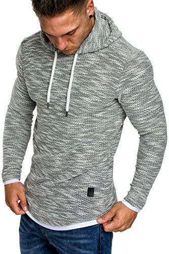 Amaci&Sons Herren 2in1 Kapuzenpullover Hoodie Sweater Pullover Sweatshirt 4013 Grau XL