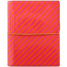 Filofax A5Domino Patent Organiseur de rayures–Orange/rose