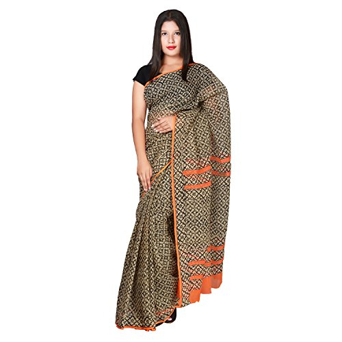 PK Impex Sarees Collection Multi Colour Saree Kota Doria Kota Cotton Silk Saree (P-23_Hand Block Printed Black_Free Size)